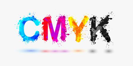 basic letters: CMYK abbreviation. Splash paint