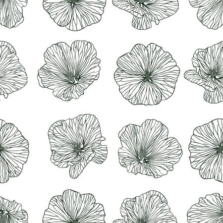 mallow: Linear seamless pattern - mallow flowers Illustration