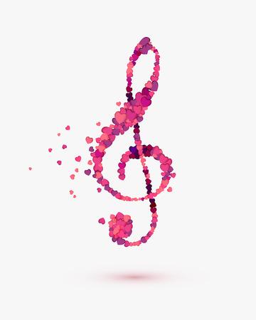 autograph: treble clef of hearts. Romantic music symbol