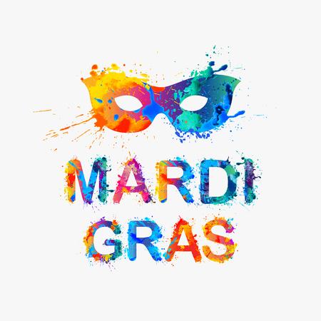 orleans symbol: Carnival mardi gras inscription and mask