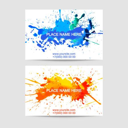 Ensemble de deux entreprises de création de modèles de cartes de visite. Conception artistique de peinture d'éclaboussure.
