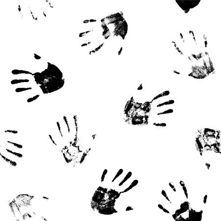 thumb print: Seamless pattern - hand prints