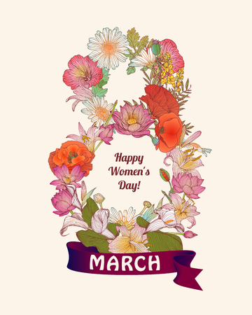 8 march: Happy Womans Day! 8 march congratulation card.