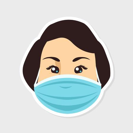 personas enfermas: Cara de la mujer en una m�scara de protecci�n m�dica Vectores