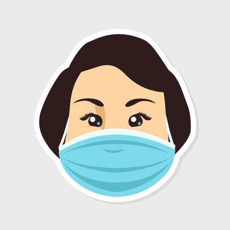 quarantine: Womans face in a medical protective mask
