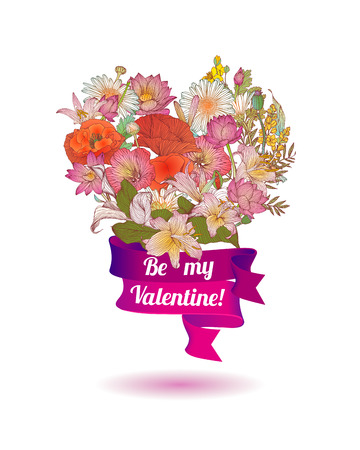 be: Floral heart card Be my Valentine