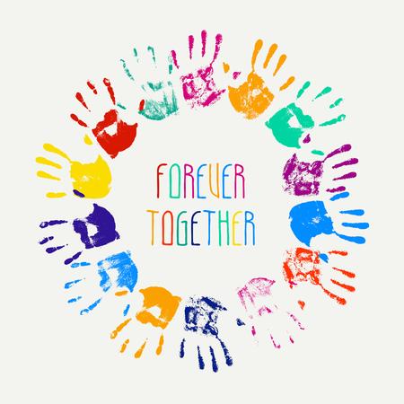 forever: Forever together. Circle of colorful children hand prints Illustration