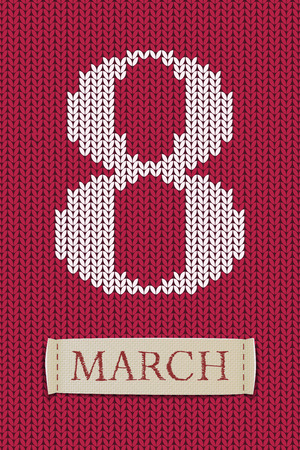 8 march on jersey texture. Happy womans day! Illustration