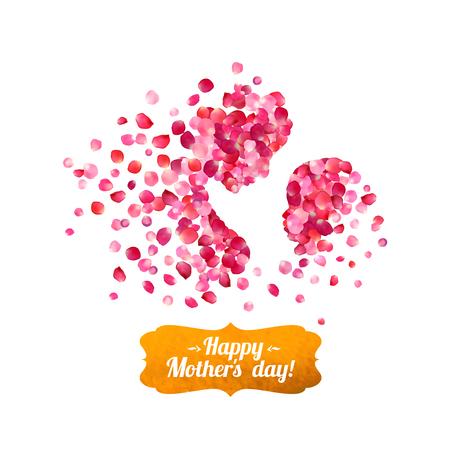 silueta niño: día de la madre feliz