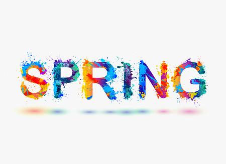 "Word ""SPRING"" Rainbow splash paint"