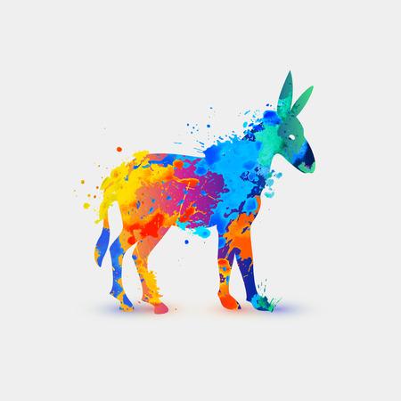 watercolour painting: Donkey. Rainbow splash icon