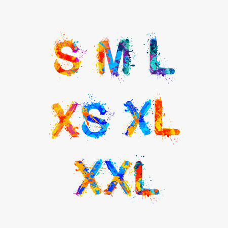 s and m: Clothes size range set, Splash paint xs, s, m, l, xl, xxl