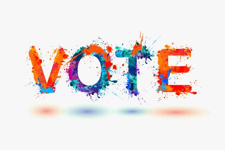 VOTE. Word written splash paint Illustration