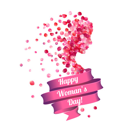 8 march. Happy Woman's Day! Silhouette of a woman of pink rose petals 일러스트