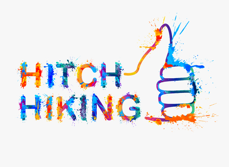 request: hitch-hiking splash paint inscription. Thumbs up - gesture signifying request to ride on a passing transport.