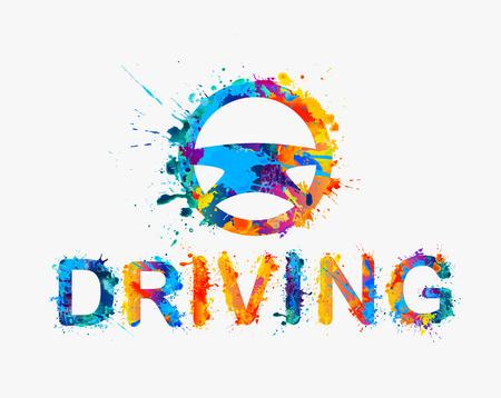 driver license: Steering wheel of rainbow splash paint Illustration