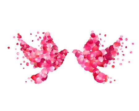 Love. Vector Wedding illustration - dove couple of rose petals. Illustration