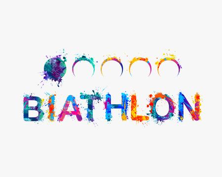 BIATHLON. Aquarelle splash peinture inscription. Vecteur Vecteurs