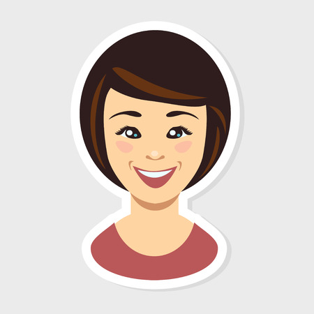 woman face: Vector flat illustration - Young woman face. Happy smile Illustration