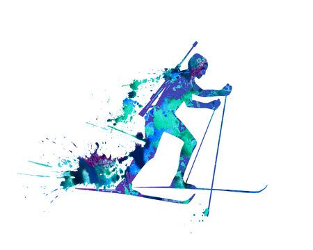 ridge: Vector watercolor splash paint biathlete. Ridge ski course