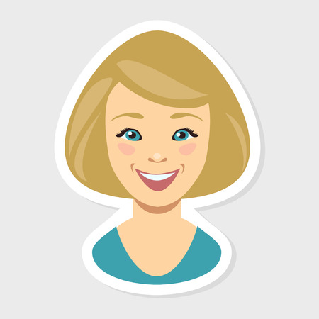 woman smile: Vector flat illustration - Blonde Young woman face. Happy smile