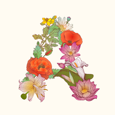 Vector alphabet of flowers. Floral letter A
