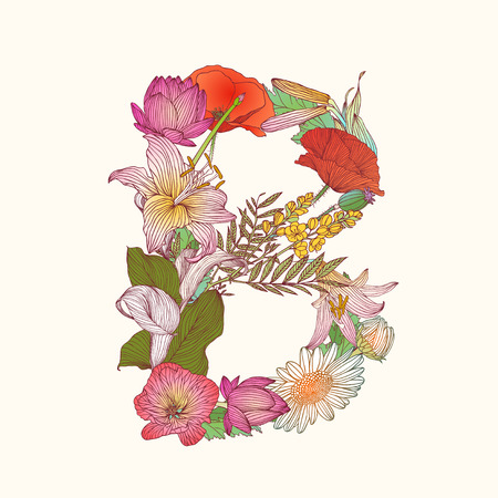 Vector alphabet of flowers. Floral letter B