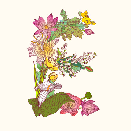 Vector alphabet of flowers. Floral letter E