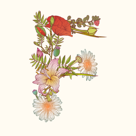 flower alphabet: Vector alphabet of flowers. Floral letter F Illustration