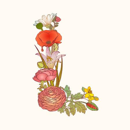 Vector alphabet of flowers. Floral letter L Vektorové ilustrace