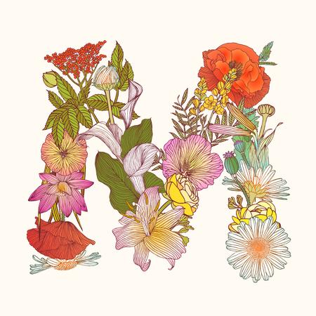 Vector alphabet of flowers. Floral letter N