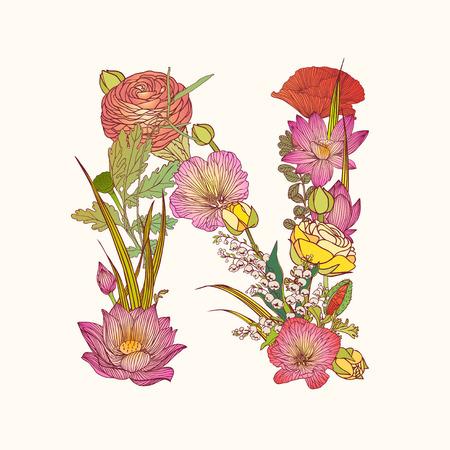 Vector alphabet de fleurs. lettre Floral N