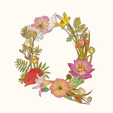 Vector alphabet of flowers. Floral letter Q