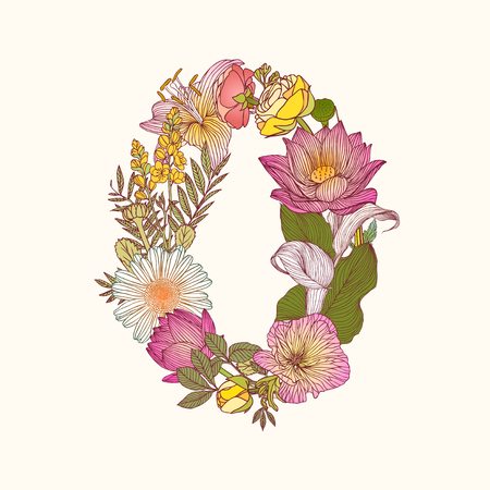 numeral: Vector alphabet of flowers. Floral numeral figure 0 Illustration