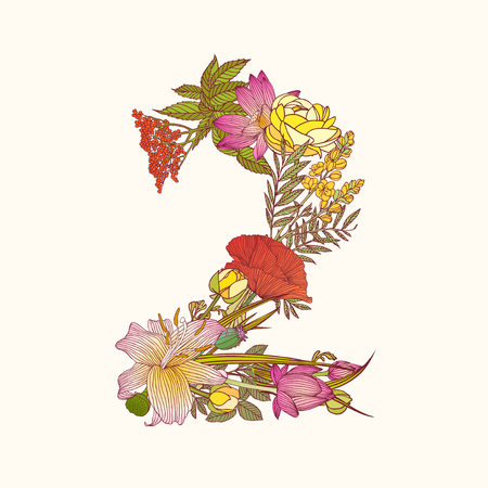Vector alphabet of flowers. Floral numeral figure 2