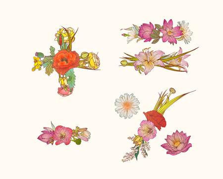 Vector alphabet of flowers. Set of math symbols