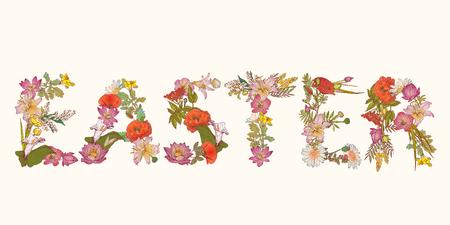 floral letters: Word Easter of floral letters. Vector detailed illustration