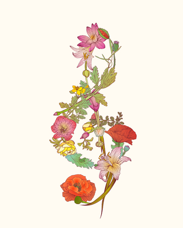 Floral treble clef. Romantic music symbol Illustration