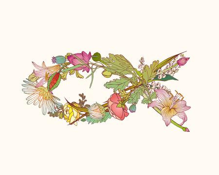 Vector Christian Symbol  of flowers. Fish Illustration