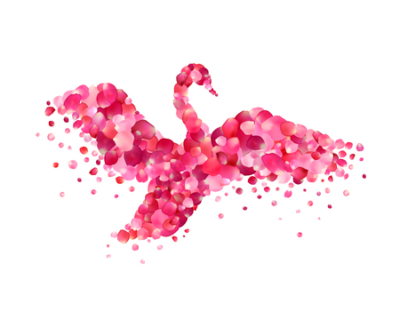 pink rose petals: Vector illustration - swan of pink rose petals isolated on white Illustration