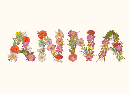 floral letters: Vector word ANNA. Name written of floral letters Illustration