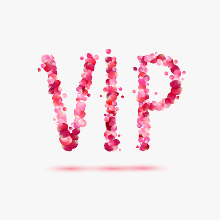 VIP (very important person). Pink rose patals abbreviation