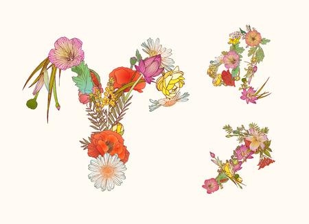 prognosis: Vector zodiac of flowers. Fire element. Aries, Leo, Sagittarius.