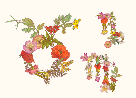capricornus: Vector zodiac of flowers. Earth element. Taurus, Virgo, Capricornus.