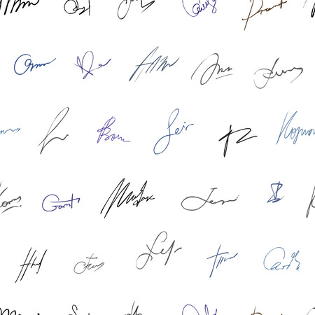 signatures: Seamless pattern - Fictitious autographs (signatures)