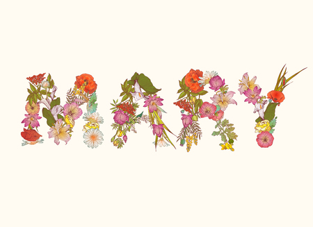 floral letters: Vector word MARY. Name written of floral letters