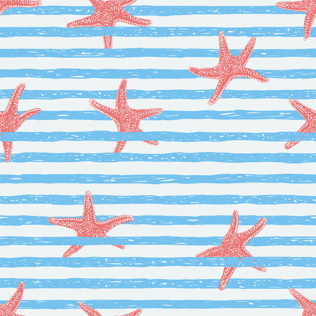 spotted line: Seamless vector pattern. Light blue stripes with starfishes