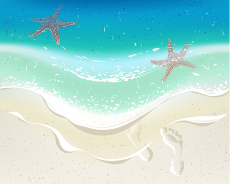 footprints in the sand: Sea wave on a tropical beach. Footprints on sand. Background for summer time holiday design. Illustration