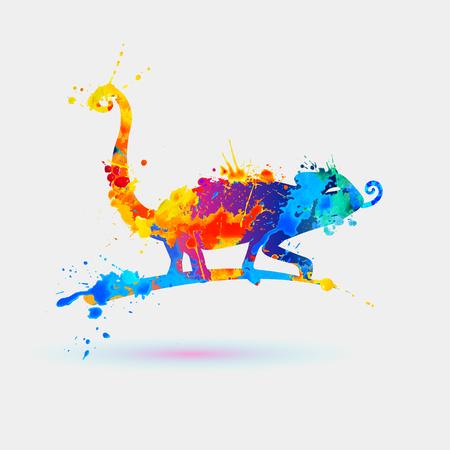 Chameleon of watercolor rainbow  splash paint. Icon