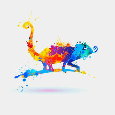 Chameleon of watercolor rainbow splash paint. Icon
